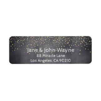 Goldconfetti-Tafel-Hochzeits-Rücksendeadresse