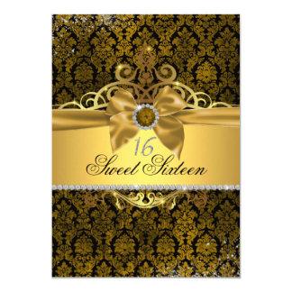 Golddamast 16. Geburtstag laden ein Karte