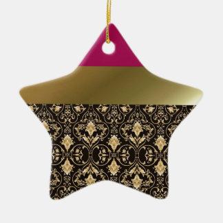 Golddamast und -ROT Keramik Ornament