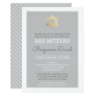 GOLDdavidsstern Bar mitzvah modernes einfaches 12,7 X 17,8 Cm Einladungskarte