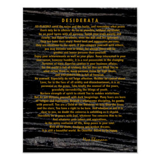 Golddesiderata auf Raum-Staub-Schwarz-Marmor Poster