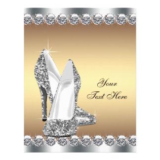 Golddiamant-Glitter-hohe Fersen-Schuh 21,6 X 27,9 Cm Flyer