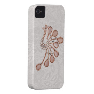 Golddiamant-Pfau-Paisley-Spitze iPhone 4 iPhone 4 Hülle