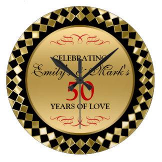 Golddiamanten und Jahrestag der Rot-Strudel-50. Große Wanduhr