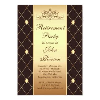Golddiamantmuster auf braunem Ruhestands-Party Karte