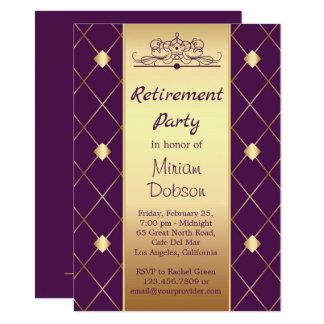 Golddiamantmuster auf lila Ruhestands-Party Karte