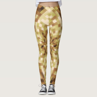 Golddigital-Kaleidoskop-geometrisches abstraktes Leggings