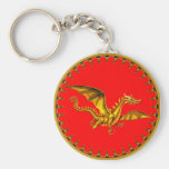 Golddrache auf Rot Schlüsselband
