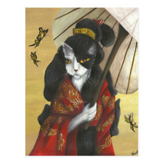 Golddrache-Kimono-Katze Postkarte