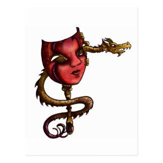 Golddrache-Maske I Postkarte