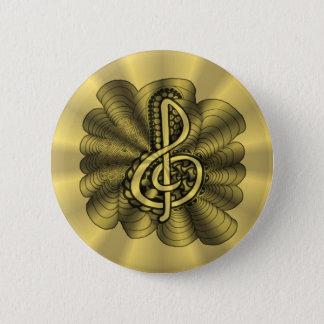 Golddreifacher Clef-Musik-Entwurf Runder Button 5,7 Cm