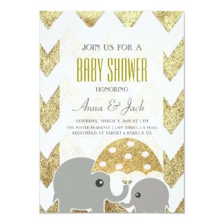 Goldelefant-Regenschirm-Baby-Duschen-Party laden 12,7 X 17,8 Cm Einladungskarte