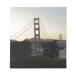 Golden gate bridge am Sonnenuntergang Notizblock