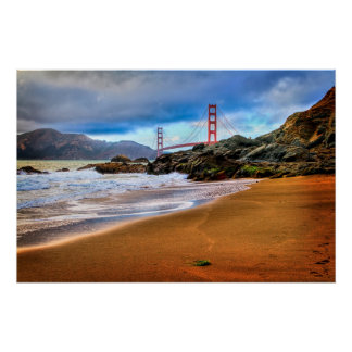 Golden gate bridge am Sonnenuntergang Poster