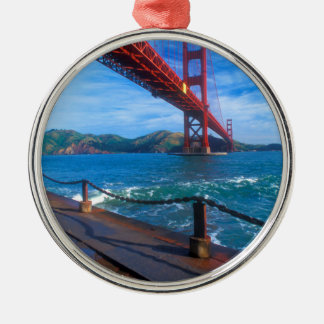 Golden gate bridge, Kalifornien Rundes Silberfarbenes Ornament