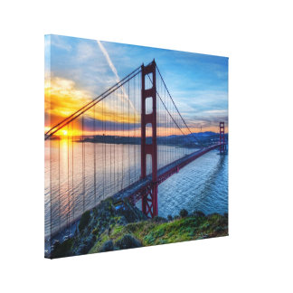 Golden gate bridge-Sonnenuntergang - San Francisco Leinwanddruck