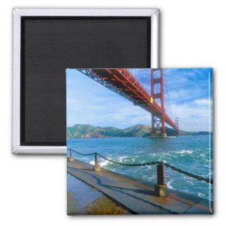 Golden gate bridge und San Francisco Bay 2 Quadratischer Magnet