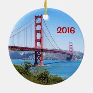 Golden Gate-Feiertags-Verzierung Rundes Keramik Ornament