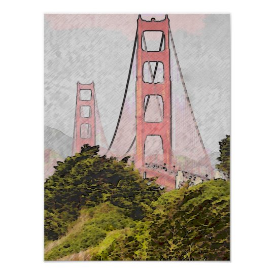 Golden Gate in Oil Poster