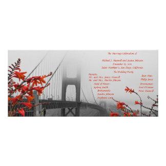 Golden Gate mit orange Hochzeits-Programm Werbekarte