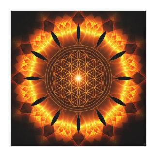 golden power mandala with flower of life symbol leinwanddruck