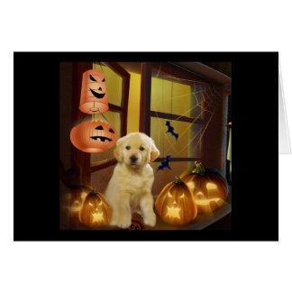 Golden retriever BOO Halloween-Gruß-Karte Karte
