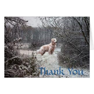 Golden retriever danken Ihnen, Schnee zu kardieren Karte