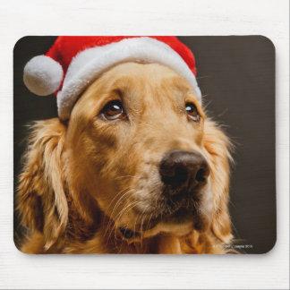 Golden retriever, das für sein Weihnachten Mousepad