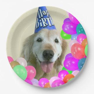 Golden retriever-Hund mit Ballon-Geburtstag Pappteller