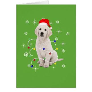 Golden retriever-Hündchen-Feiertags-Weihnachten Karte