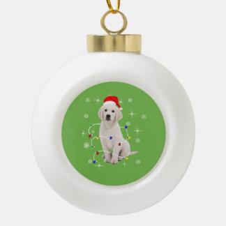 Golden retriever-Hündchen-Feiertags-Weihnachten Keramik Kugel-Ornament