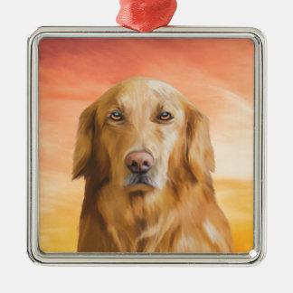 Golden retriever-Hundewasser-Farbkunst-Ölgemälde Quadratisches Silberfarbenes Ornament
