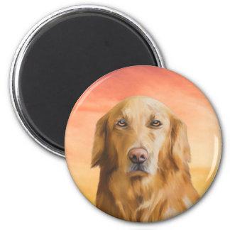 Golden retriever-Hundewasser-Farbkunst-Ölgemälde Runder Magnet 5,1 Cm