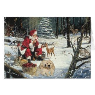 Golden retriever Sankt und Rotwild-Weihnachtskarte Karte