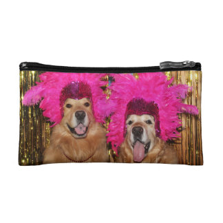 Golden retriever versah Revuegirls mit Federn Makeup-Tasche