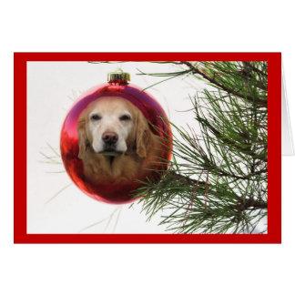 Golden retriever-Weihnachtskarten-Ball-Hängen Karte