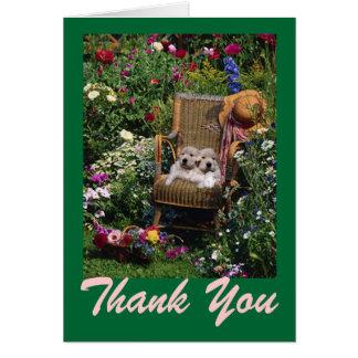 Golden retriever-Welpen-Garten danken Ihnen zu Karte