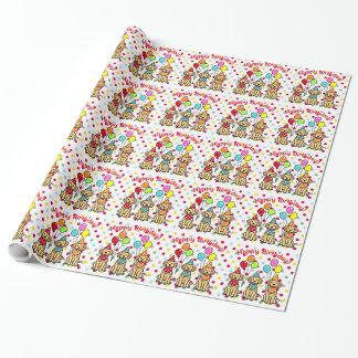 Golden retriever-Welpen-Geburtstags-Packpapier Geschenkpapier