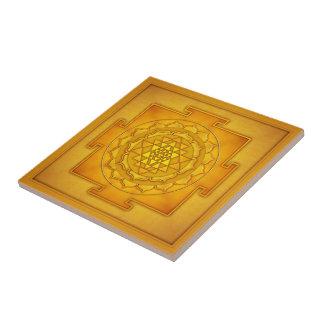 Golden Sri Yantra II Kleine Quadratische Fliese