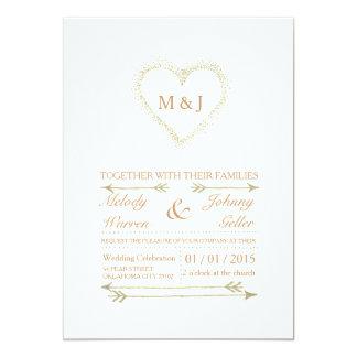 Golden - weiße Hochzeits-Einladungs-Karte 12,7 X 17,8 Cm Einladungskarte