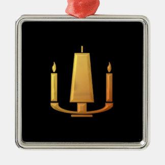 "Goldene ""3-D"" Einheits-Kerze Silbernes Ornament"