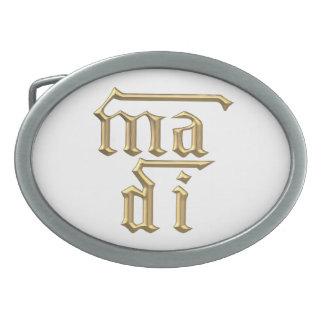 "Goldene ""3-D"" Mutter des Symbols des Gott-(MA-Di) Ovale Gürtelschnalle"