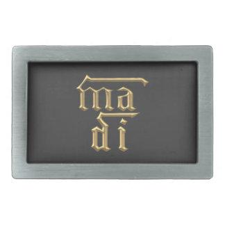"""Goldene """"3-D"""" Mutter des Symbols des Gott-(MA-Di) Rechteckige Gürtelschnalle"""