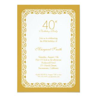 Goldene 40. Geburtstags-Party Einladung der