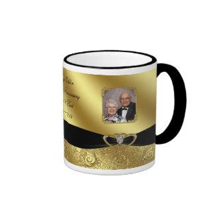 Goldene 50. Hochzeits-Jahrestags-Foto-Tasse Ringer Tasse