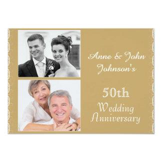 Goldene 50. Hochzeitstag-Einladung Karte