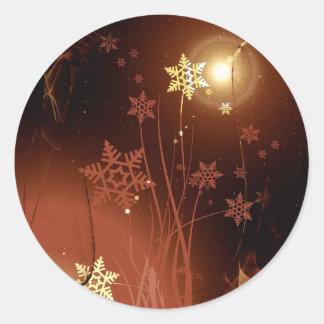 Goldene abstrakte Kunst Weihnachtszusammensetzung Runder Aufkleber