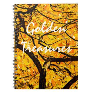 Goldene Adern des Herbstes Spiral Notizblock