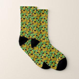 Goldene Ananas auf Streifen Socken