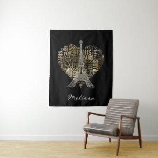 Goldene Aufschriften Paris des Eiffelturm-| im Wandteppich
